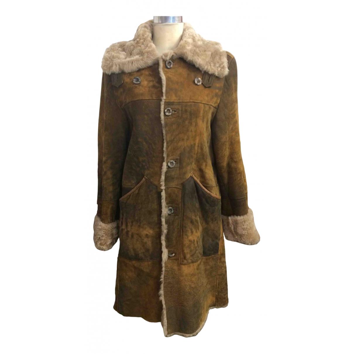 Daniele Alessandrini - Manteau   pour femme en mouton - marron