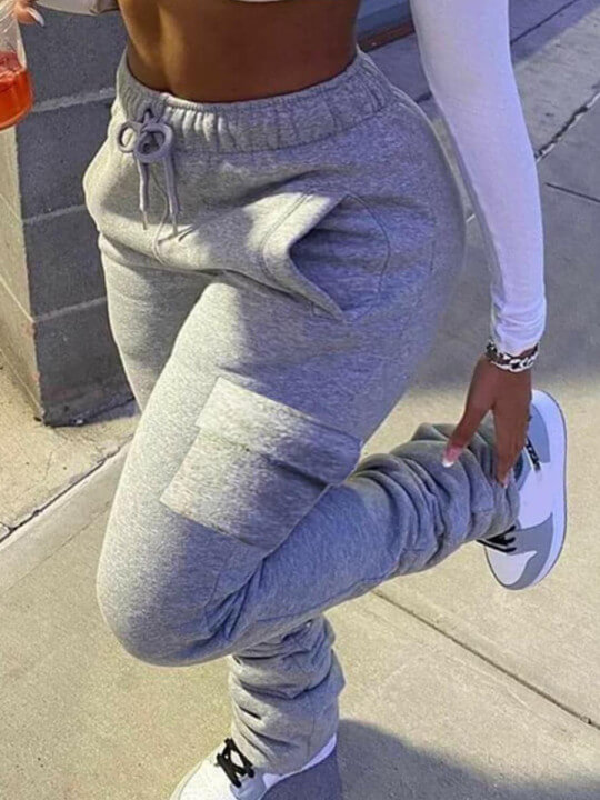 LW Lovely Casual Side Pocket Drawstring Grey Plus Size Pants
