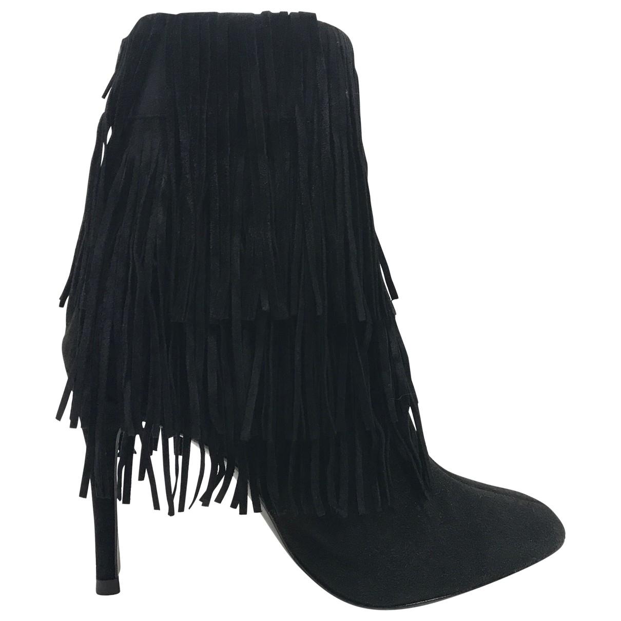 Zara - Boots   pour femme en suede - noir