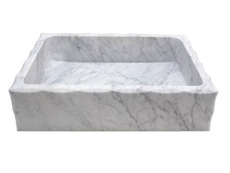 EB_S037CW-H Antique Rectangular Carrara Marble Vessel Sink