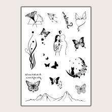 Tattoo Aufkleber mit Schmetterling & Stern Muster