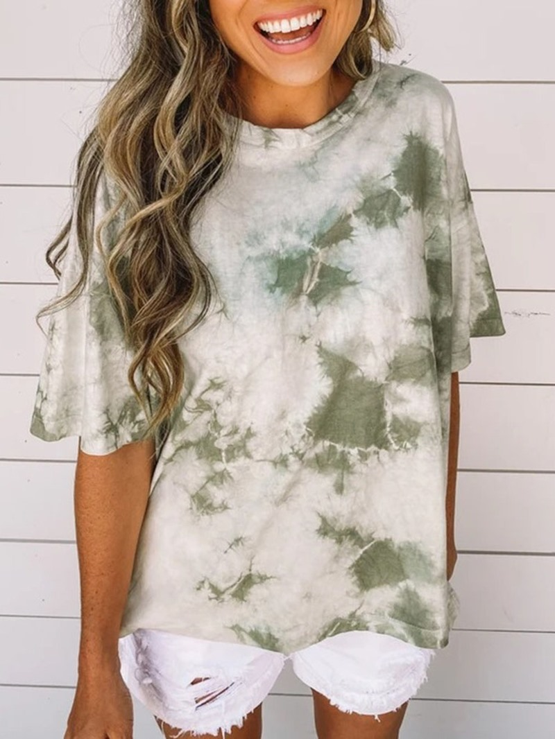 Ericdress Half Sleeve Gradient Round Neck Casual Loose T-Shirt
