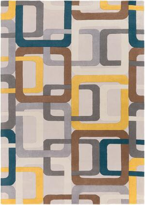 Forum FM-7159 9' x 12' Rectangle Modern Rug in Dark Green  Medium Gray  Saffron  Dark Brown  Light Gray