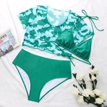 3pack Plus Tie Dye Triangle Co-ord Bikini Swimsuit
