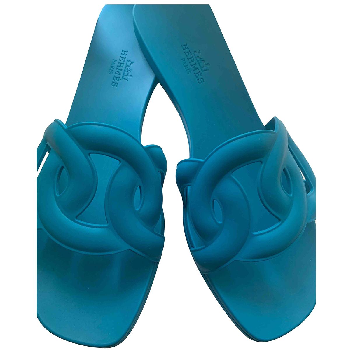 Hermes - Sandales Omaha pour femme en caoutchouc - bleu