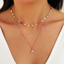 Mehrschichtige Halskette mit Strass und Stern Dekor
