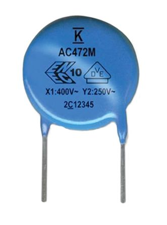 KEMET Single Layer Ceramic Capacitor SLCC 2.2nF 300V ac ±20% Y5U Dielectric C900 Series Through Hole (25)