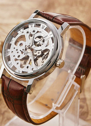 Milanoo Round Shape Alloy Skeleton Watch for Men