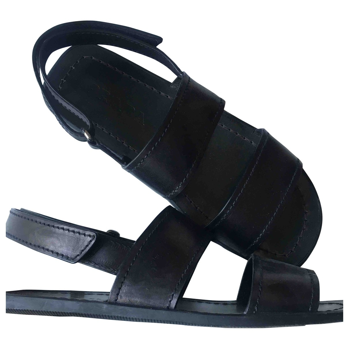 Prada \N Black Leather Sandals for Men 6.5 UK