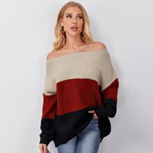 Off Shoulder Colorblock Rib-knit Sweater