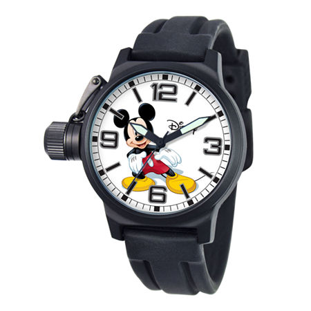 Disney Crown Protector Mens Mickey Mouse Silicone Strap Watch, One Size , No Color Family