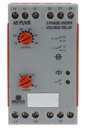 Broyce Control Phase, Voltage Monitoring Relay With DPDT Contacts, 400 V ac Supply Voltage, 3 Phase, Undervoltage
