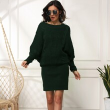 Batwing Sleeve Cable Knit Dress