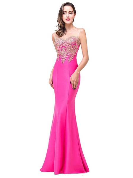 Milanoo Maxi Party Dress Women Applique Illusion Neckline Evening Dress
