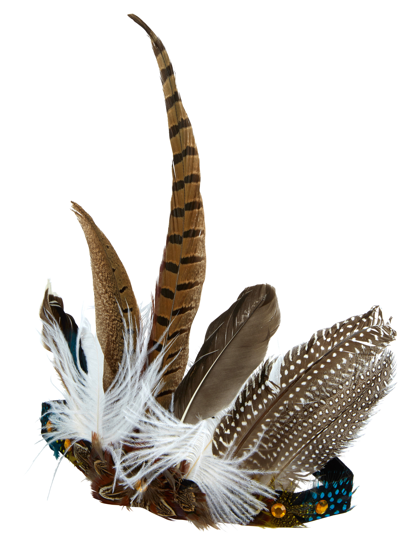 Kostuemzubehor Haarband Indianer mit Fasanenfedern Farbe: braun