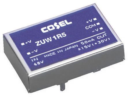 Cosel 1.56W Isolated DC-DC Converter Through Hole, Voltage in 4.5 → 9 V dc, Voltage out ±12V dc