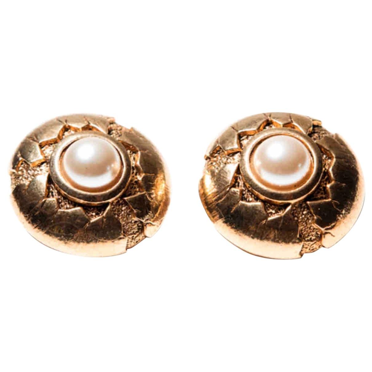 Abbeyroad - Boucles doreilles   pour femme en plaque or - blanc