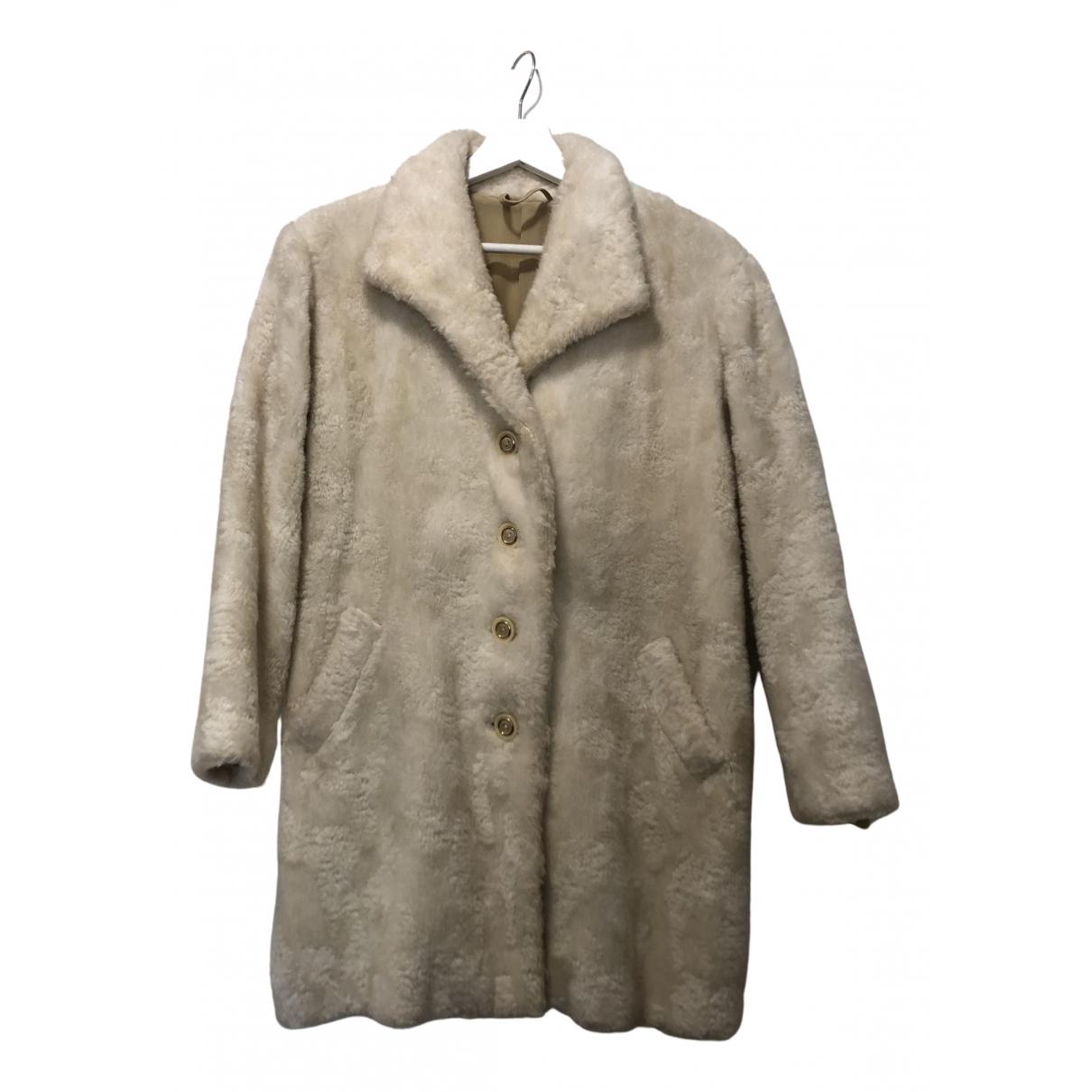 Non Signé / Unsigned N Beige Faux fur coat for Women 38 FR