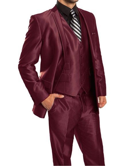 Men's Silky Shiny 2 Button Single 3 Piece Suit Slim Fit Burgundy Suit