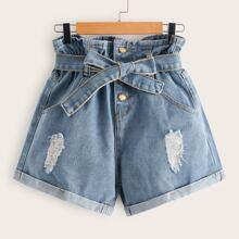 Denim Shorts mit Papiertasche um die Taille, Guertel, Riss und Manschetten