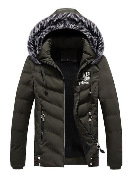 Milanoo Men Parka Coat Furry Hood Print Zipper Decor Cotton Fill Casual Winter Padded Overcoat