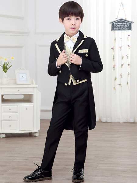 Milanoo Ring Bearer Suits Boys Black 5 Piece Outfit Wedding Party Formal Wear