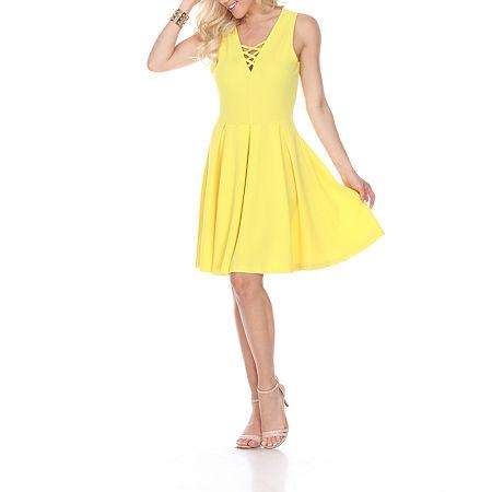 White Mark Shay Sleeveless Fit & Flare Dress, X-large , Yellow