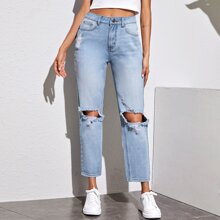 Light Wash Distressed Cropped Baggy Jeans
