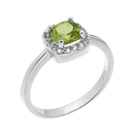 Cushion-Cut Genuine Peridot and White Topaz Sterling Silver Ring, 5 , No Color Family