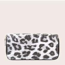 Monedero con cremallera de leopardo