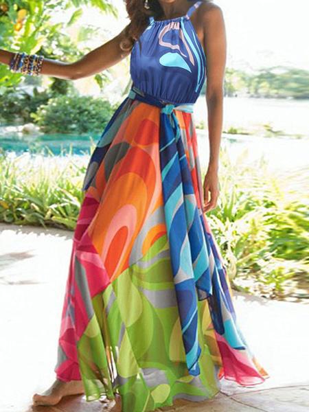 Milanoo Vestido largo azul  Multicolores sin mangas Vestidos de poliester con tirantes ajustables con pliegues con escote estilo marinero Verano