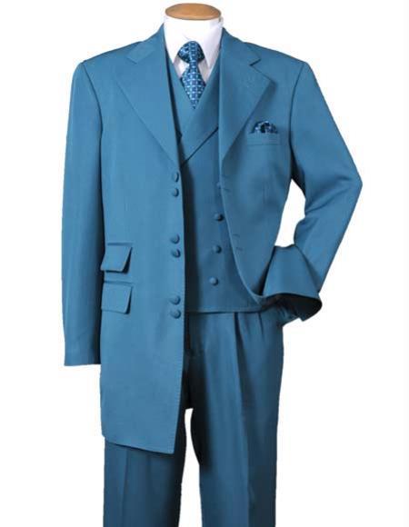 Mens 6 Button Wide Notch 1 Polyester Double Vest Turquoise Zoot Suit