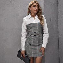 Kleid mit zweireihigen Knopfen, Schnalle, Guertel, Kontrast und Karo Muster
