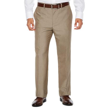 JF J. Ferrar End on End Flat Front Suit Pants - Classic Fit, 34 34, Brown