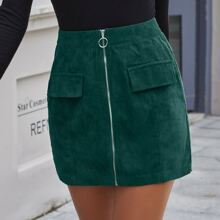 Ring Zipper Up Front Corduroy Skirt