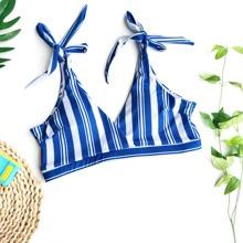 Bikini Top mit Streifen und Band auf Schulter