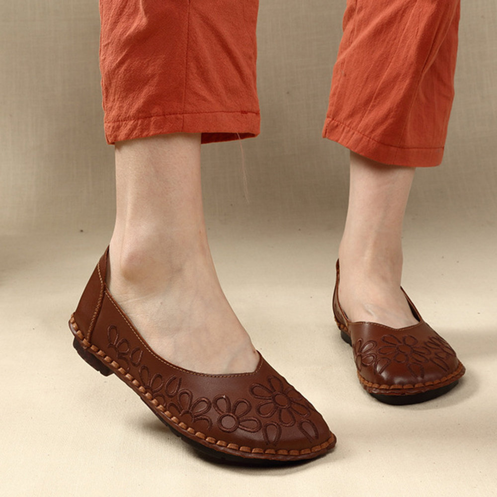 Stitching Round Toe Genuine Leather Comfortable Flat Loafers