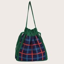 Plaid Knit Shoulder Bag