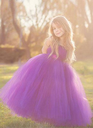 Milanoo Flower Girl Dress Boho Grape Purple Bow Sash Princess Pageant Dress For Little Girls