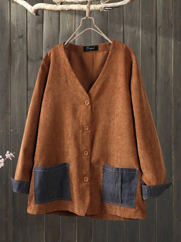 Corduroy Patchwork Pockets V-neck Plus Size Thin Coat