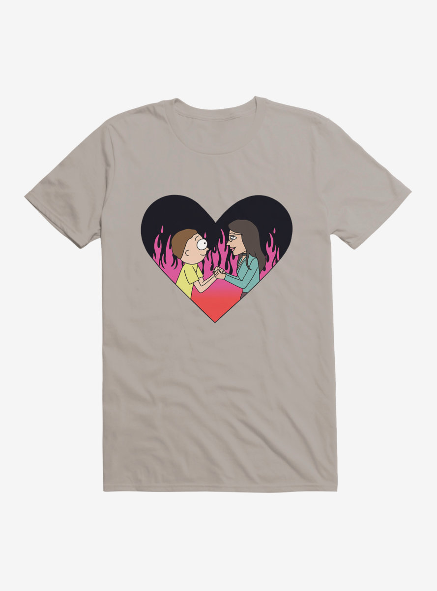 Rick And Morty Flame Love T-Shirt