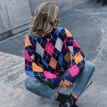Argyle Pattern Drop Shoulder Sweater
