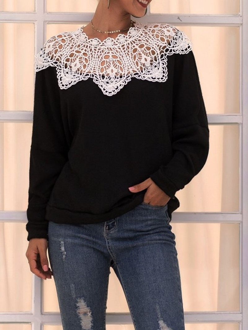 Ericdress Patchwork Lace Long Sleeve Women's Hoodie