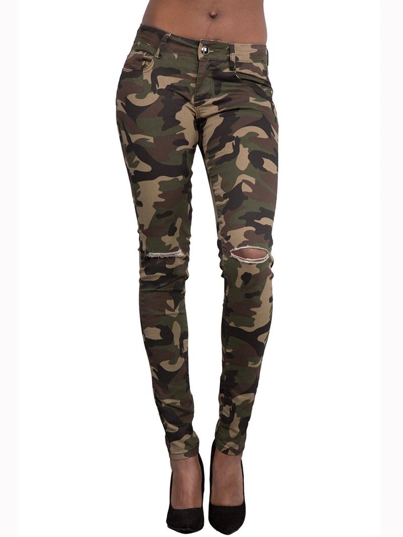 Ericdress Camouflage Hole Leggings Pants
