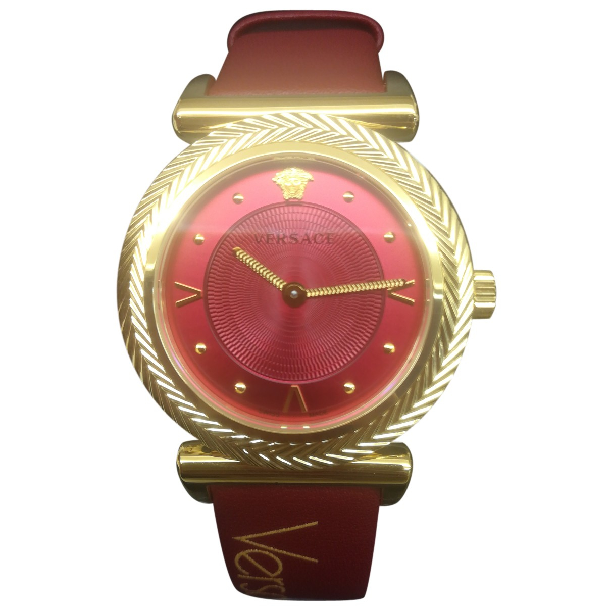 Versace N Burgundy Gold plated watch for Women N
