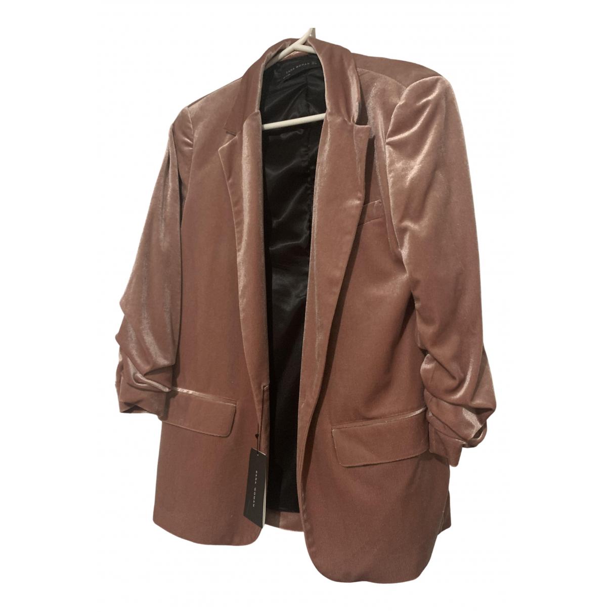 Zara - Veste   pour femme en velours - rose