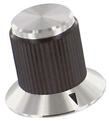 TE Connectivity Potentiometer Knob, Grub Screw Type, 19.1mm Knob Diameter, Black, 3.17mm Shaft