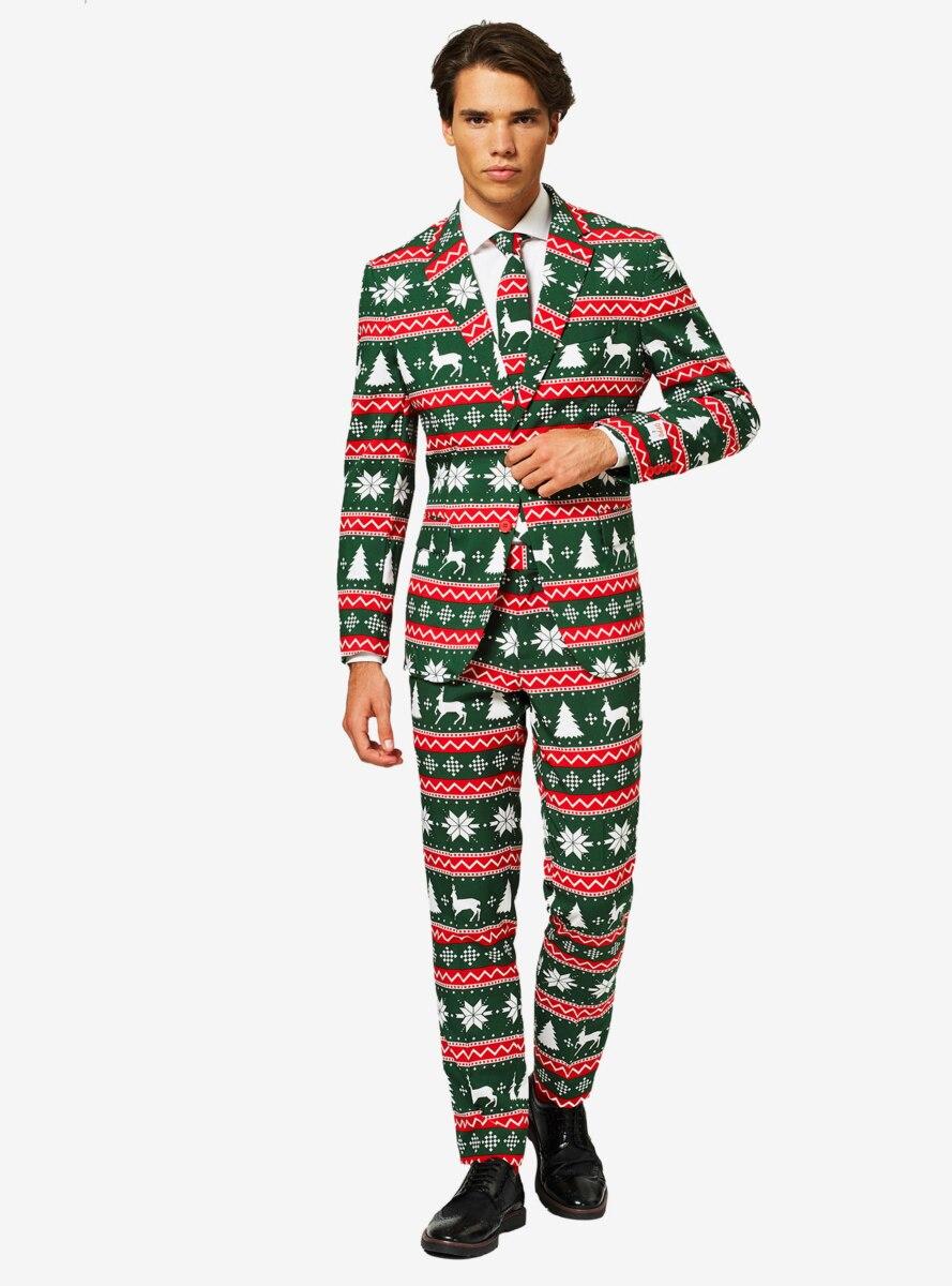 OppoSuits Men's Festive Green Christmas Suit