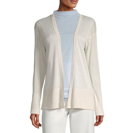 Worthington Womens Long Sleeve Open Front Cardigan, Petite X-large , White