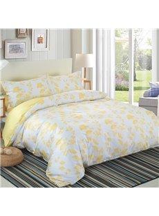 Designer 60S Brocade Autumn Yellow Ginkgo Leaves Pattern White 4-Piece Cotton Bedding Sets